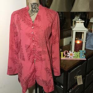 Tommy Bahama Pink Long Sleeve Blouse